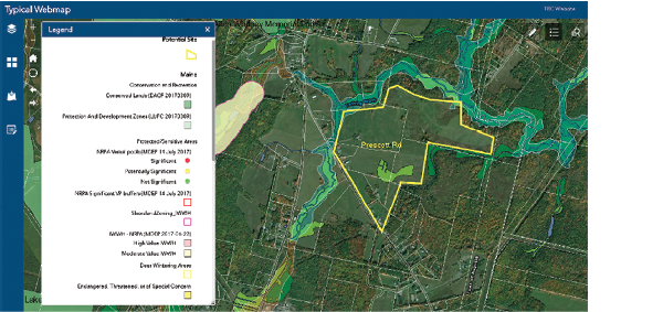 GIS mapping screen shot showing potential development. Credit: TRC Solutions.