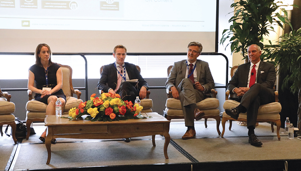 From left: Meagan Keiser, Statoil; Thomas Brostrøm, Ørsted; David Rowland, Avangrid; and Paul Rich, US Wind. Credit: Offshore Wind Executive Summit.