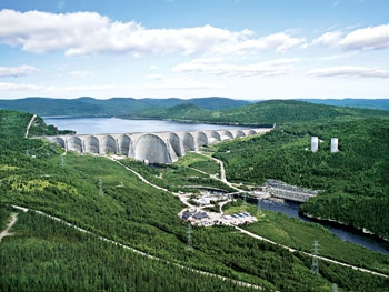 The Daniel-Johnson Dam, operated by Hydro-Quebec, is part of the Manic-Outardes complex and has a total installed capacity of more than 7300 MW.