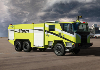 The Oshkosh Storm is engineered to provide a powerful, yet cost- effective, ARFF response for International Civil Aviation Organization (ICAO) airports.