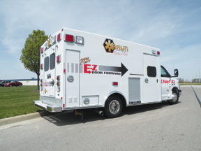 (1) Braun Industries exhibited the Chief XL at FDIC 2012, a new model with an EZ door-forward arrangement, built on a Chevy G4500 chassis.