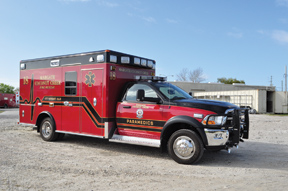 (4) Wheeled Coach exhibited an ambulance built on a Dodge D4500 chassis for the Margate-Coconut Creek (FL) Fire-Rescue that has a seamless all-aluminum body, Firecom communications system, and four five-point seat belt positions.