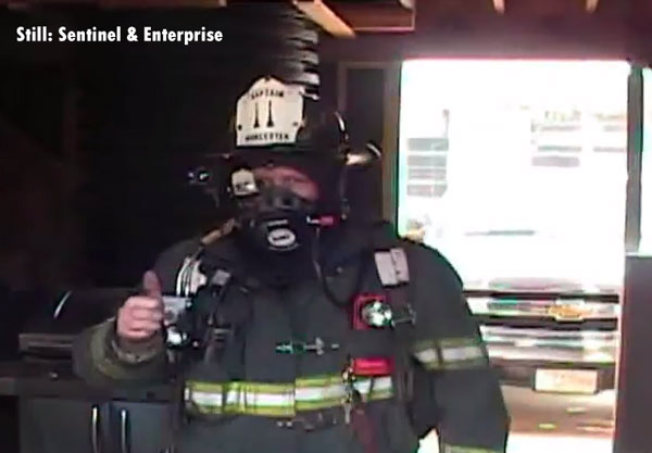 A firefighter wearing the Thermal on Demand face piece.