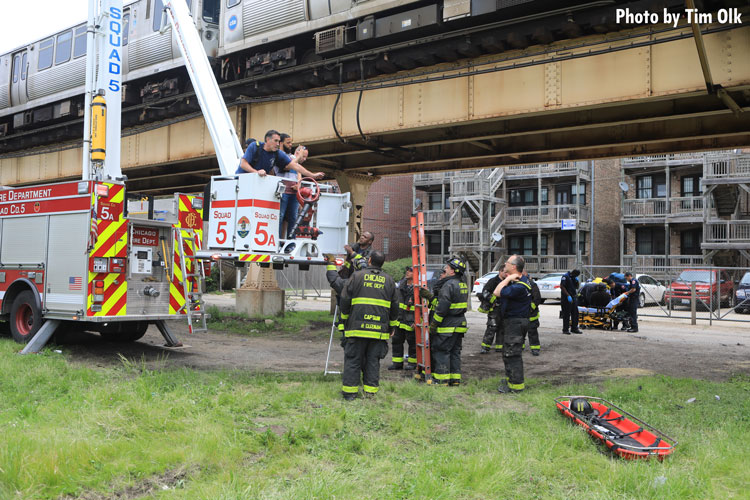 Chicago fire crews at train derailment