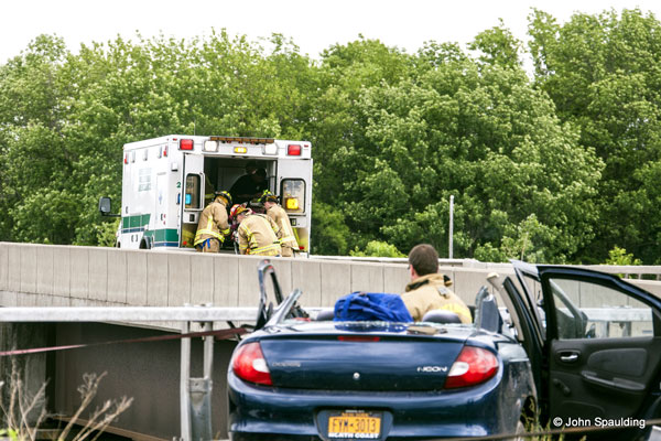 NY Firefighters Respond to Car Crash on Overpass