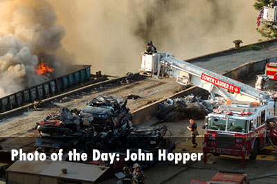 FDNY firefighters respond to a Bronx (NY) Barge Fire, photos by John Hopper.