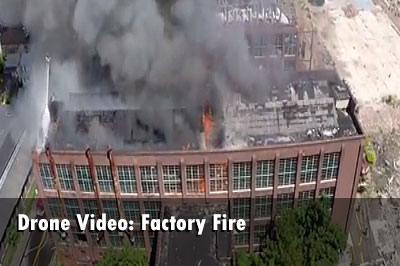 Drone Video: Bridgeport (CT) Factory Fire
