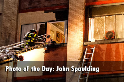 Rochester (NY) firefighters respond to a fire in a mixed-use building.