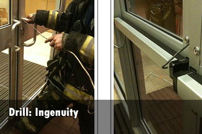 Drill: Firefighter uses an improvised forcible entry tool.