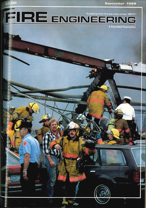 September 1988 cover of Fire Engineering: The Hackensack Ford fire