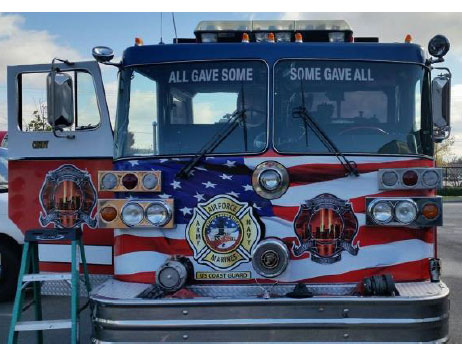 A front view of the memorial fire truck.