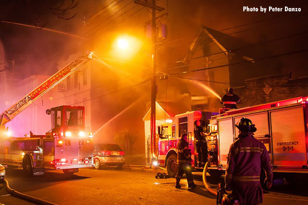 Structural Firefighting:  Firefighters Respond to 5-Alarm Passaic (NJ) Fire