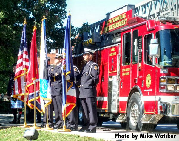 Members of the Knoxville Fire Department attend the agency's annual memorial service.
