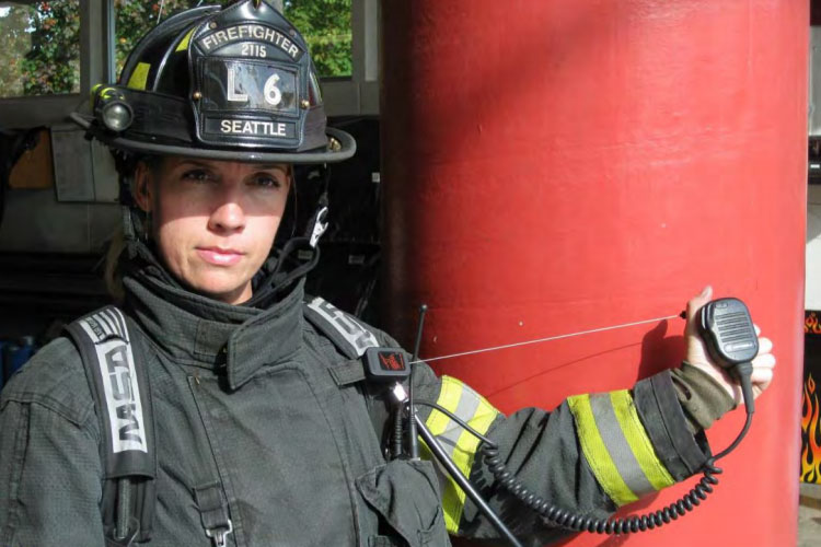 Firefighter with a radio