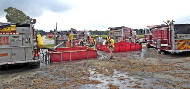 Pumpers at dump tanks