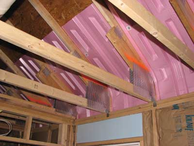 Attic space during construction before the insulation is installed