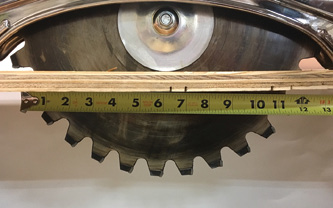 (5) Cut flex is achieved because the blade is relatively narrow in relation to the cut material. When held perpendicular to the material, a chain saw has roughly four inches of blade through the material, as opposed to more than 11 inches with a 13-inch rotary blade.