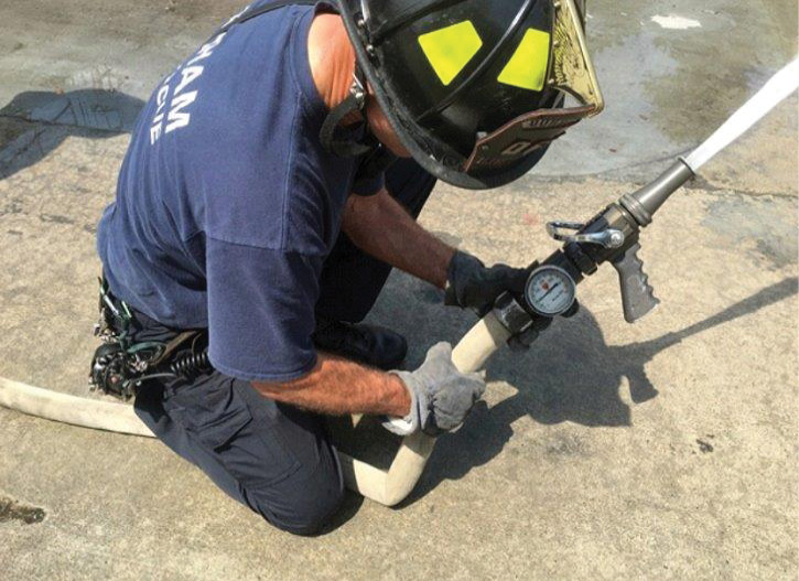 It is important for rural engine companies to use hose and nozzles that match. (2) This firefighter is battling a hose and nozzle combination that does not match.