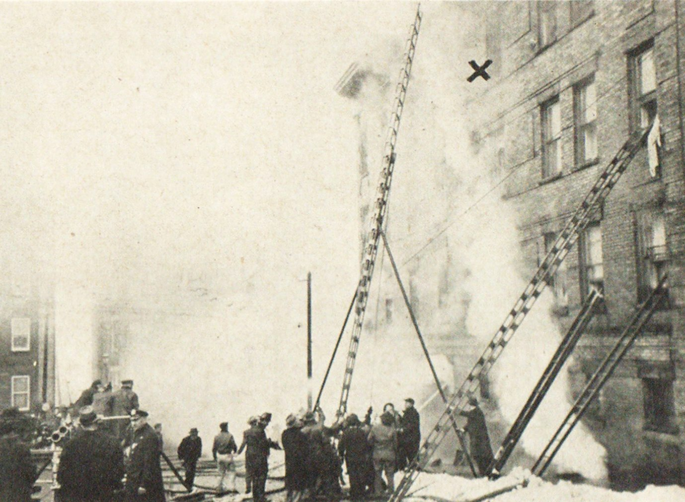 "Two Saved in Yonkers Following Four-Story Jumps Into Fire Net Yonkers, N. Y., firemen, aided by volunteers, laddering burning apartment at 1 Park avenue soon after elderly couple were rescued by dramatic drops into life net from location marked X"" on picture. Street grade prevented use of aerial ladders."