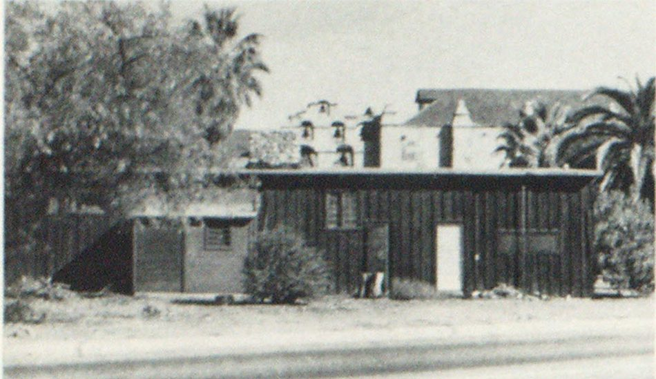 Unsightly Mission Square. Old board and batten building was torn down by the mission with the assistance of the San Gabriel Fire Department