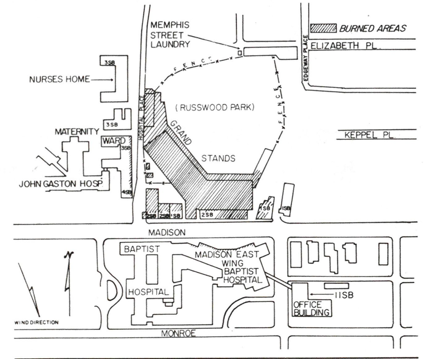 Diagram of fire ground. Crosshatching indicates burned areas
