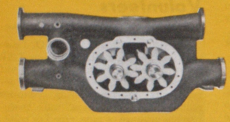 Rotary pump manufactured by American LaFrance. Note the gearshaped rotors.