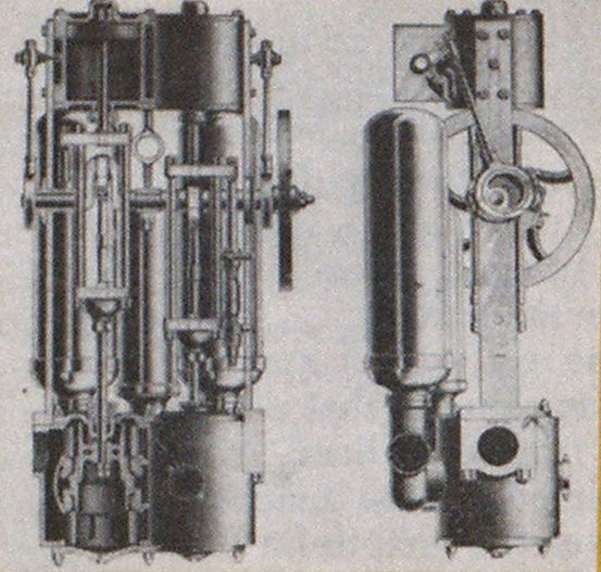 Double-acting piston pump with vertical mounting was built by Clapp and Jones.