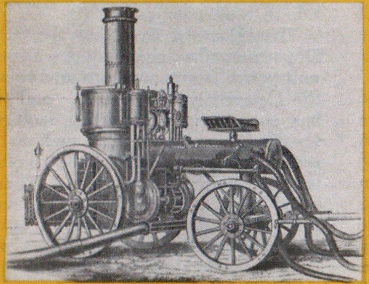 A rotary fire pump was used on the first Amoskeag steamer. It was powered by a pair of reciprocating steam pistons.