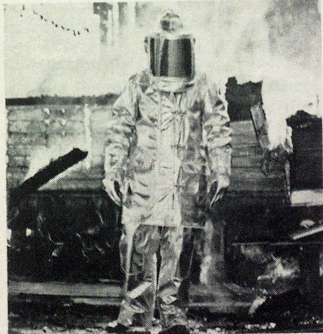 Proximity suit with nitrogen-blown foam backing is tested under fire conditions.