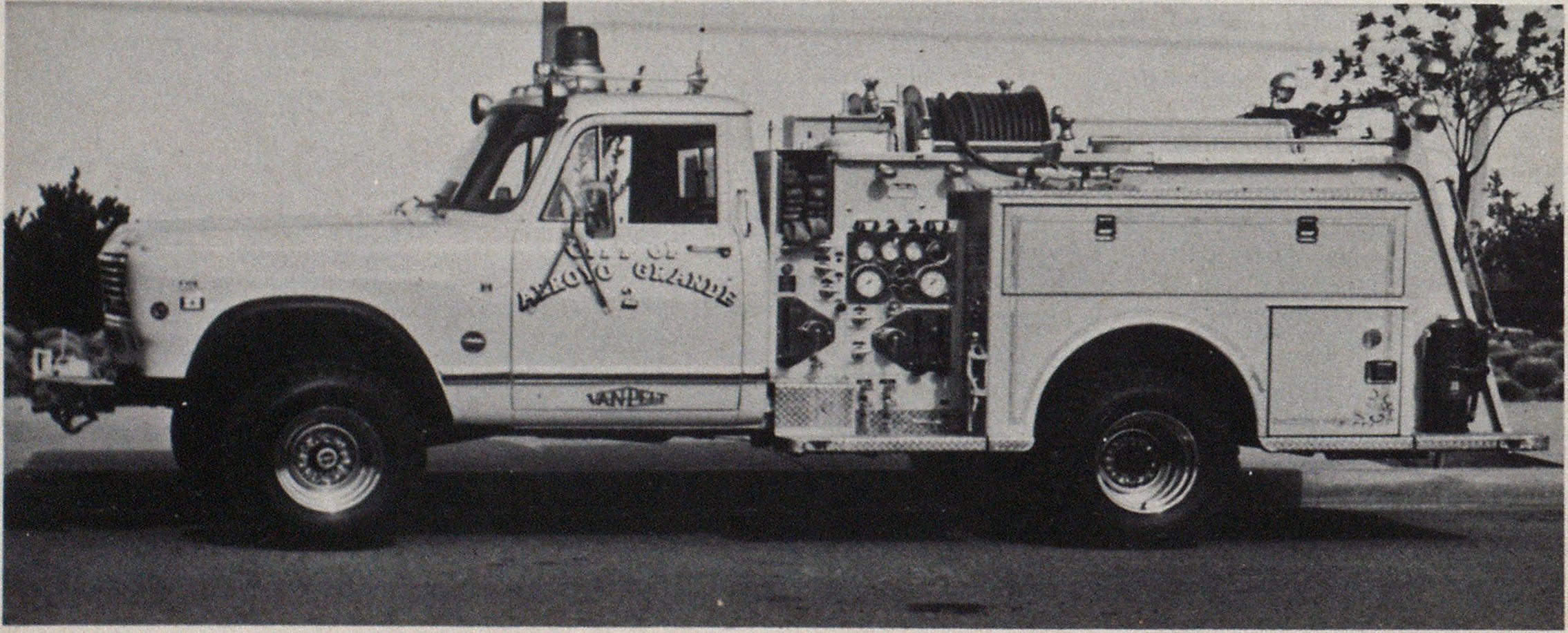 Minipumper was built on four-wheel drive, 1-ton commercial pickup chassis and carries 240 gallons of water.
