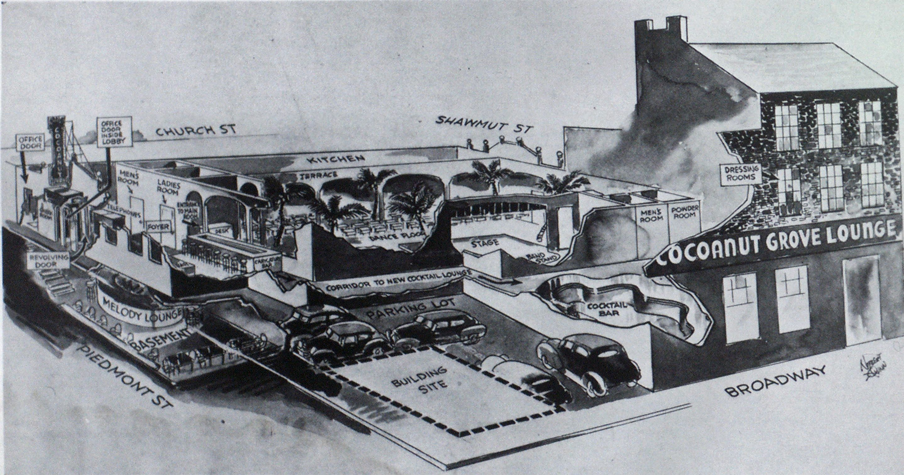 Cutaway drawing shows location of various sections of the Cocoanut Grove.