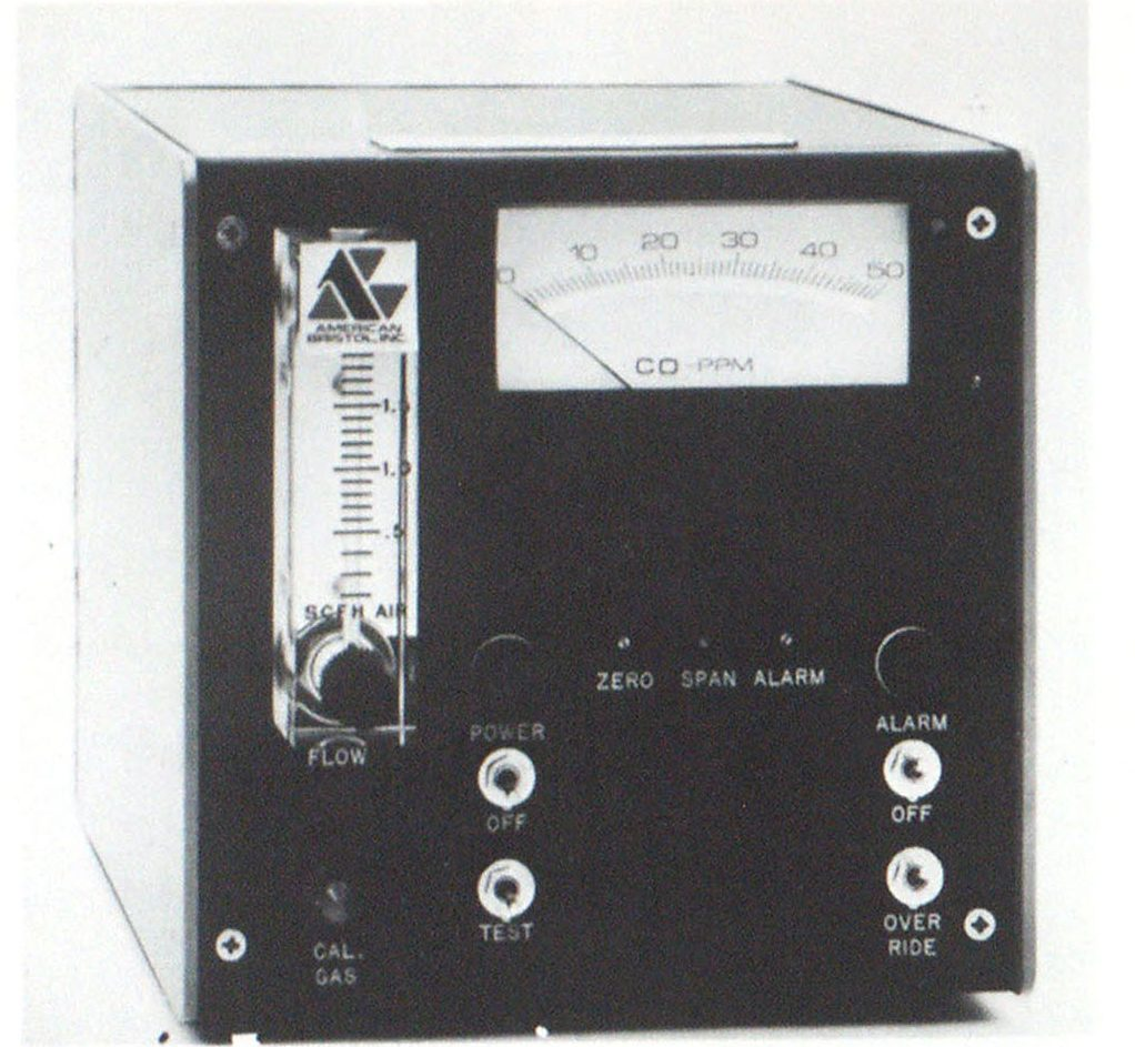 Typical carbon monoxide alarm unit for a breathing air supply system includes a direct-reading meter, an air flow rate indicator and alarm/ control contacts.