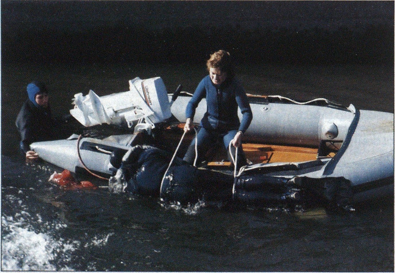 In this picture you see a 26-year-old. 98-pound woman bringing a 209-pound man into a 12-foot inflatable boat by herself.