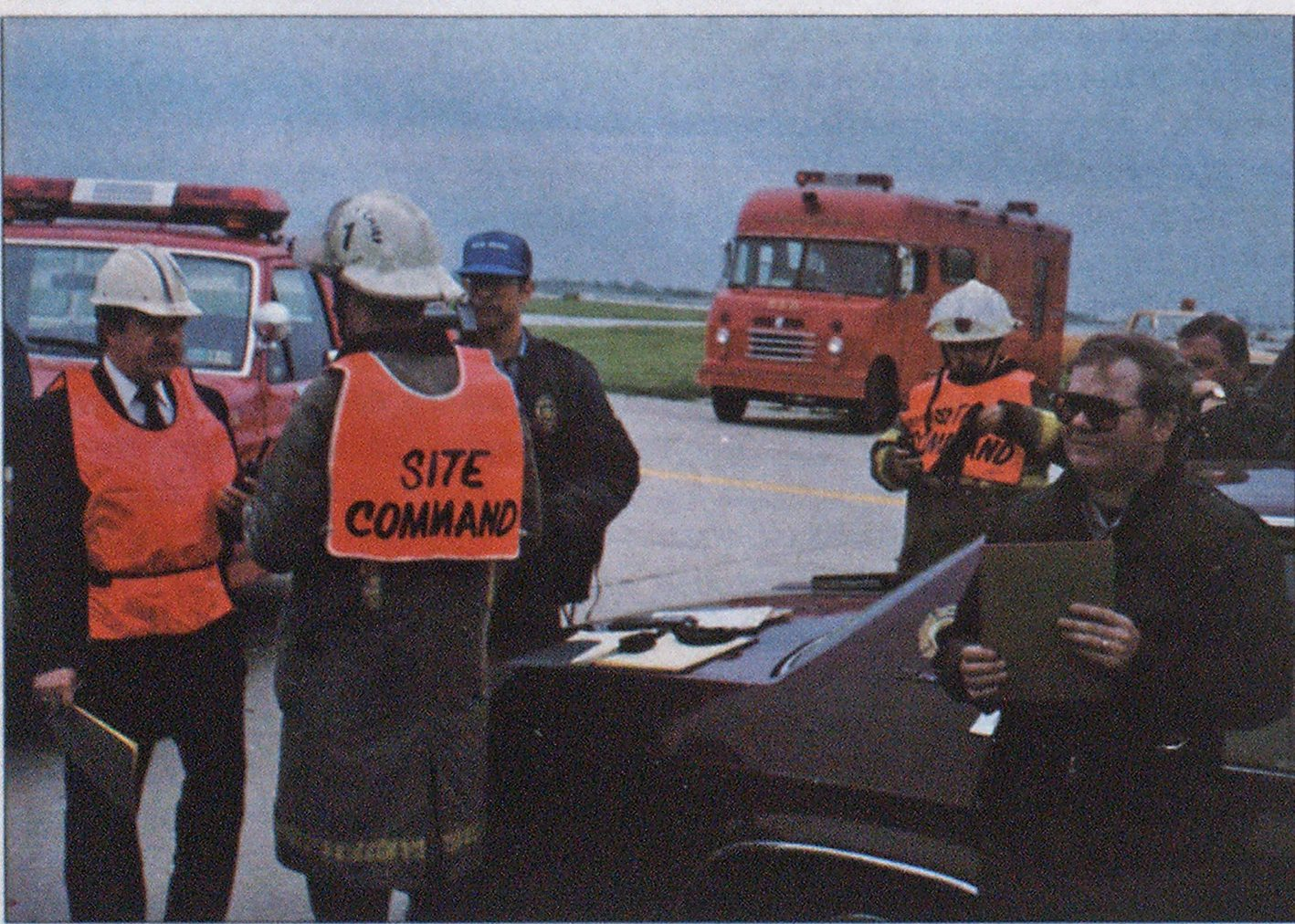 Incident command site was selected and functions identified by vests.
