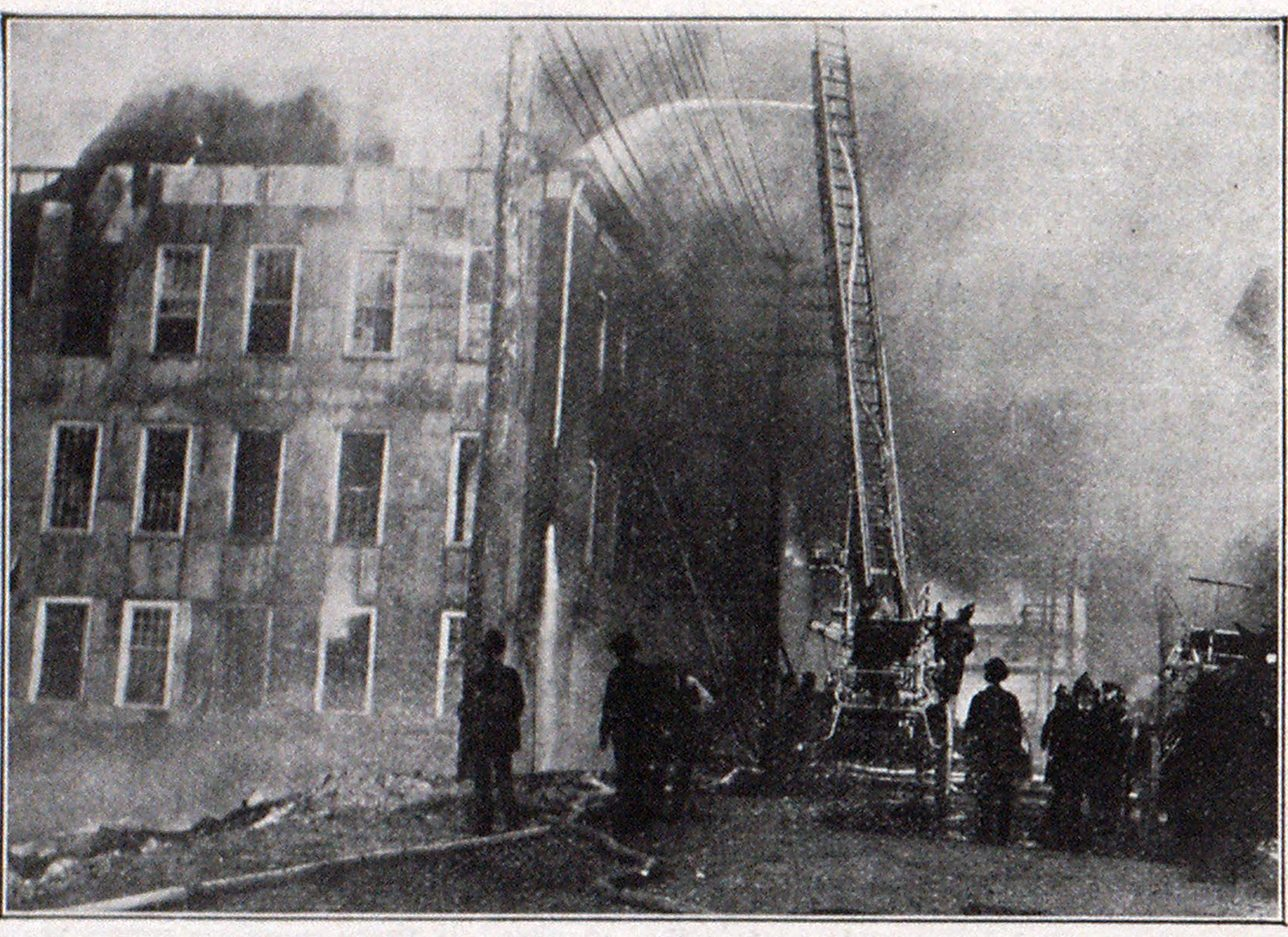 THE HART LADDER PIPE WORKING AT THE RECENT CONFLAGRATION IN PATERSON, N. J.