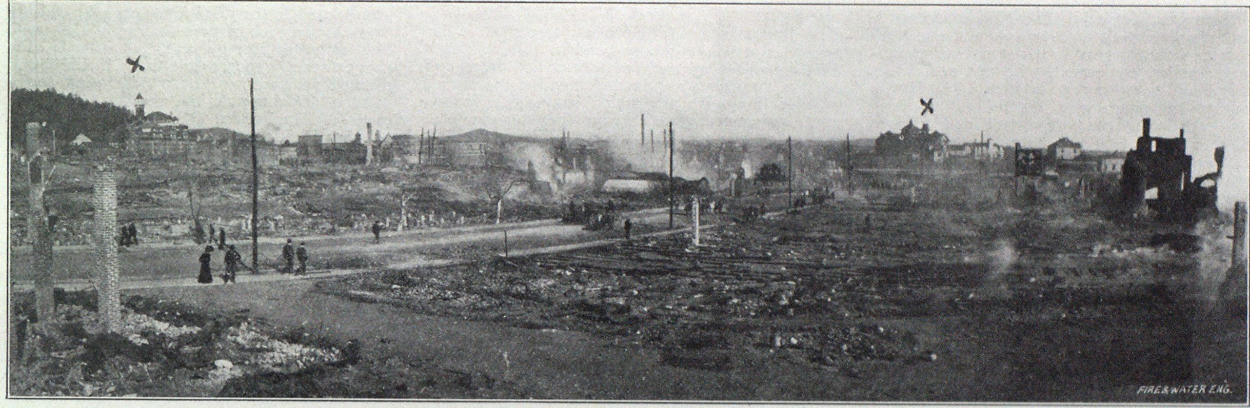 ANOTHER VIEW OF THE RUINS AT HOT SPRINGS.—CROSSES SHOW THE TWO PRINCIPAL HOTELS SAVED.