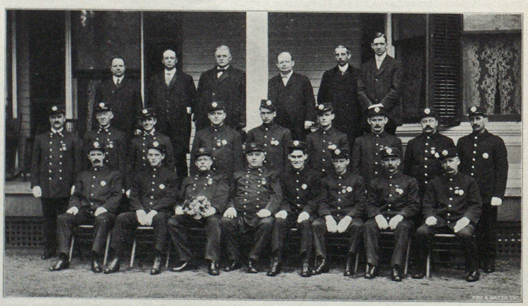 Members of the Plainfield Fire Department. Chief Doane Seated in Front Row, Third From Left Side.