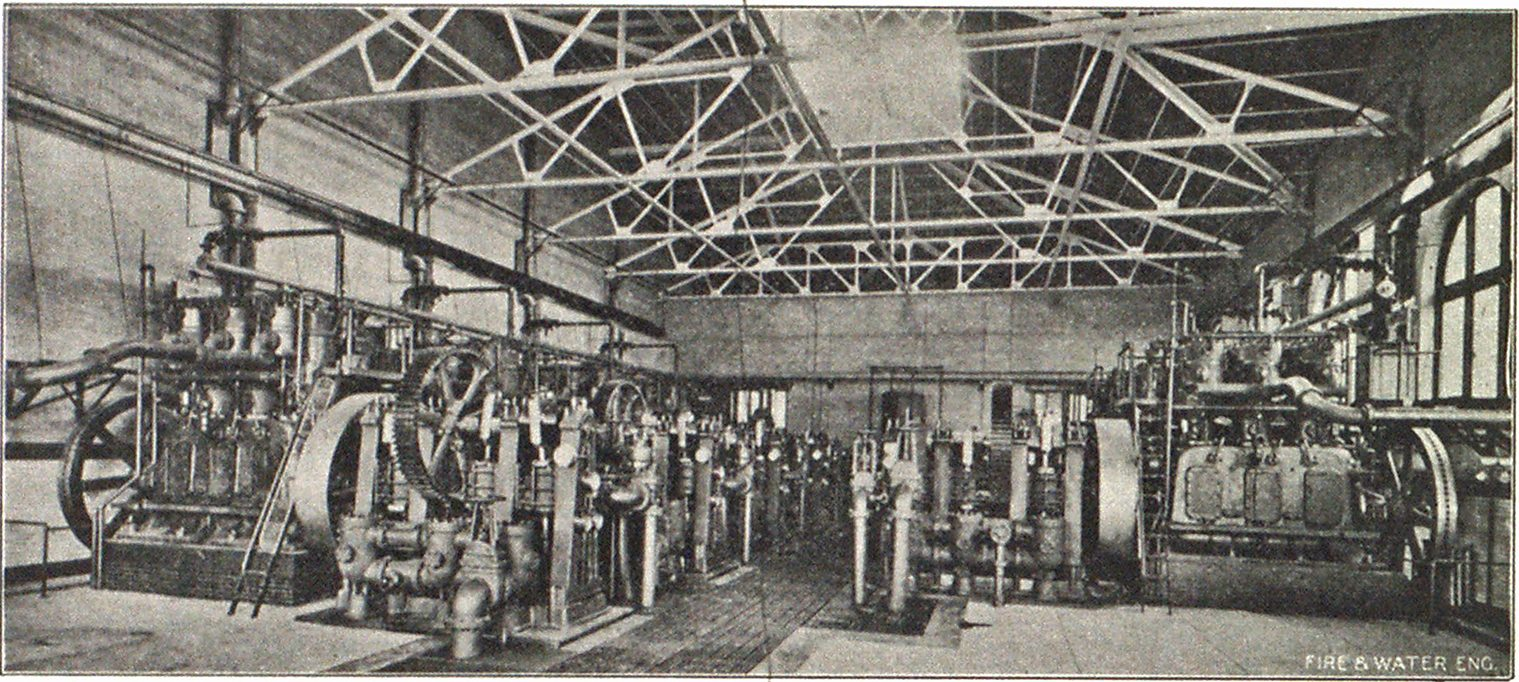 INTERIOR VIEW PUMPING PLANT HIGH PRESSURE SYSTEM, PHILADELPHIA.