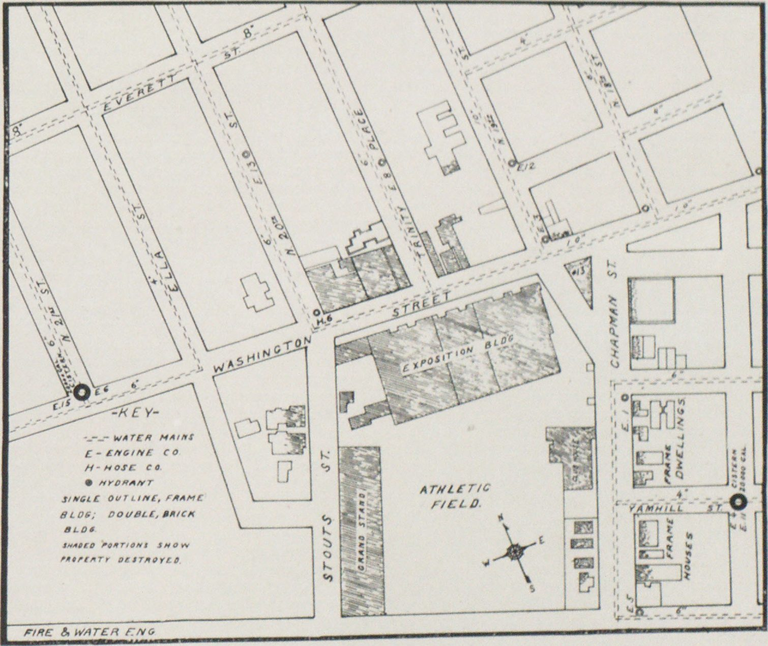 MAP OF PORTION OF PORTLAND, ORE., SHOWING LOCATION OF EXPOSITION BUILDING FIRE.