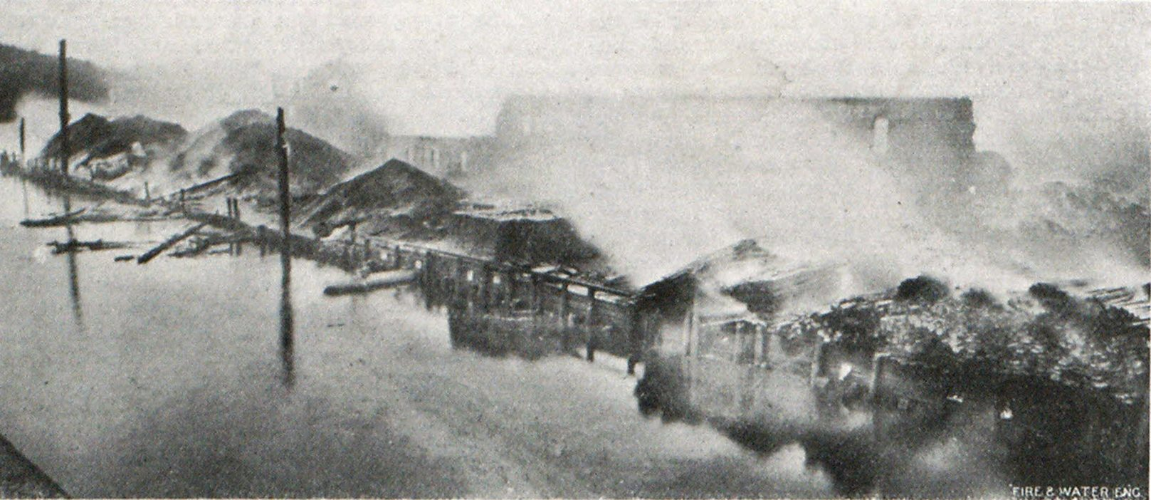 GENERAL VIEW OF WHARF FIRE EXTENDING ALONG 800 FEET OF RIVER FRONT AT NORWICH, CONN.