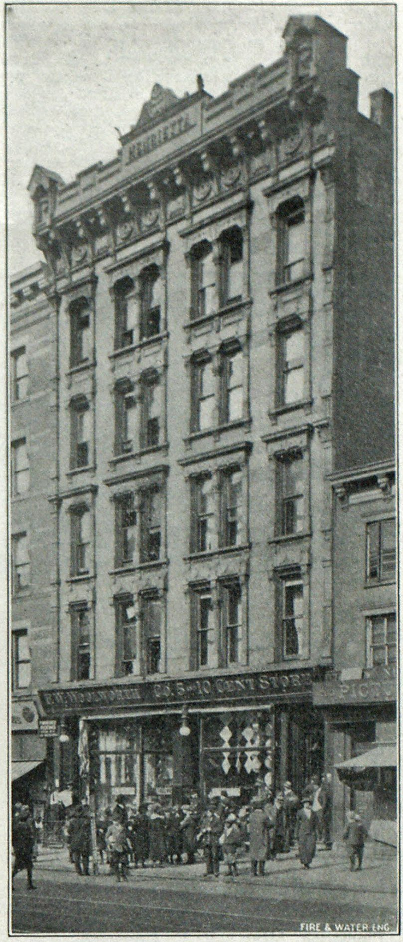 THE HENRIETTA ROOMING HOUSE, NEW YORK, IN WHICH ELEVEN LIVES WERE LOST.
