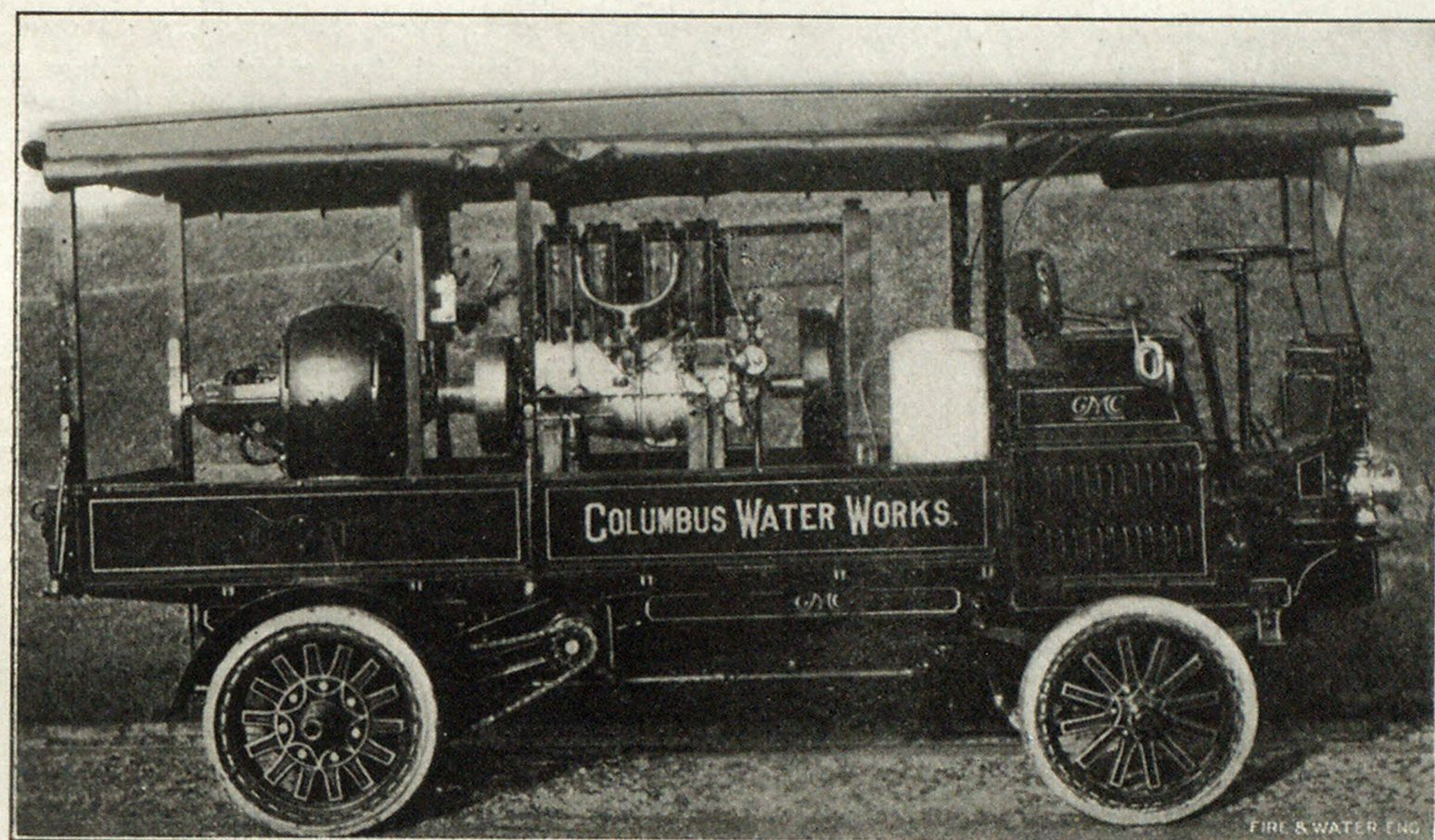GASOLINE ELECTRIC MOTOR CAR IN USE AT COLUMBUS WATER PURIFICATION PLANT