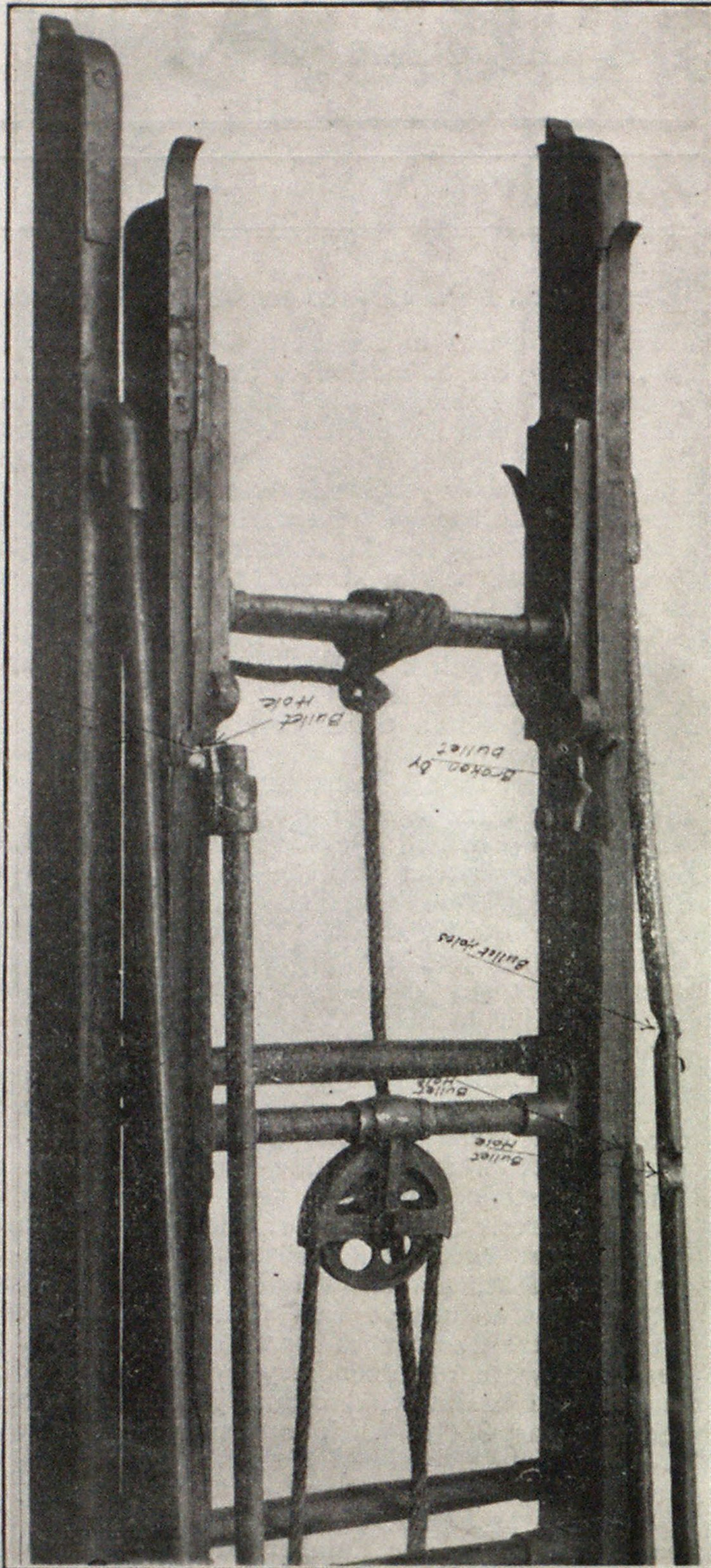 End of Telescopic Ladder Designed by Chief Purcell, With Steel Tubular Bracing, Shot at While in Use in Sackville Street. It is Equipped with C. N. Richardson Ladder Locks