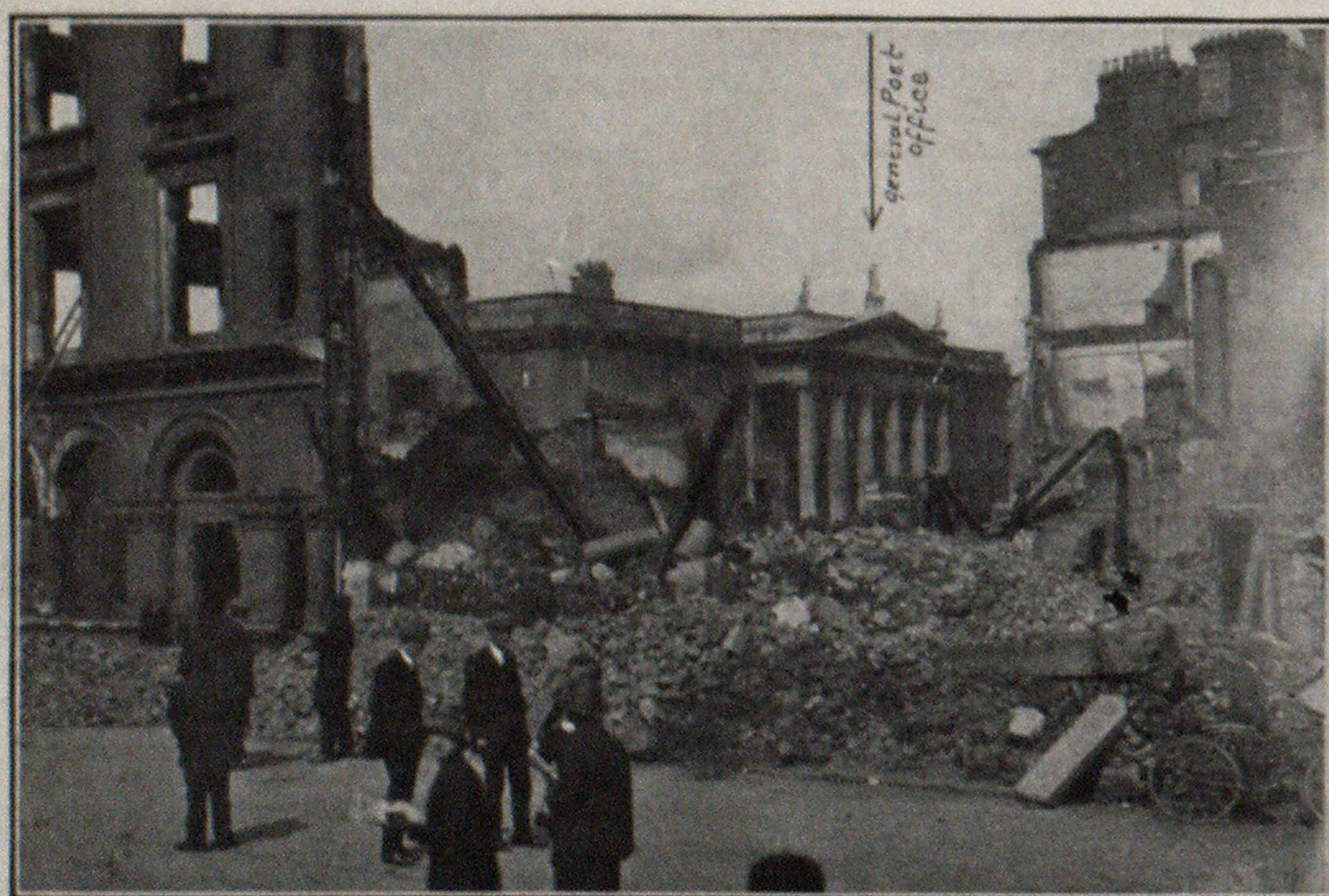 Ruins of General Post and Telegraph Office, Sackville Street, Dublin, Shelled With Mortars by Military Through Roof. GraniteFaced Walls Thirty Inches Thick Were Undamaged, But Building Was Gutted.