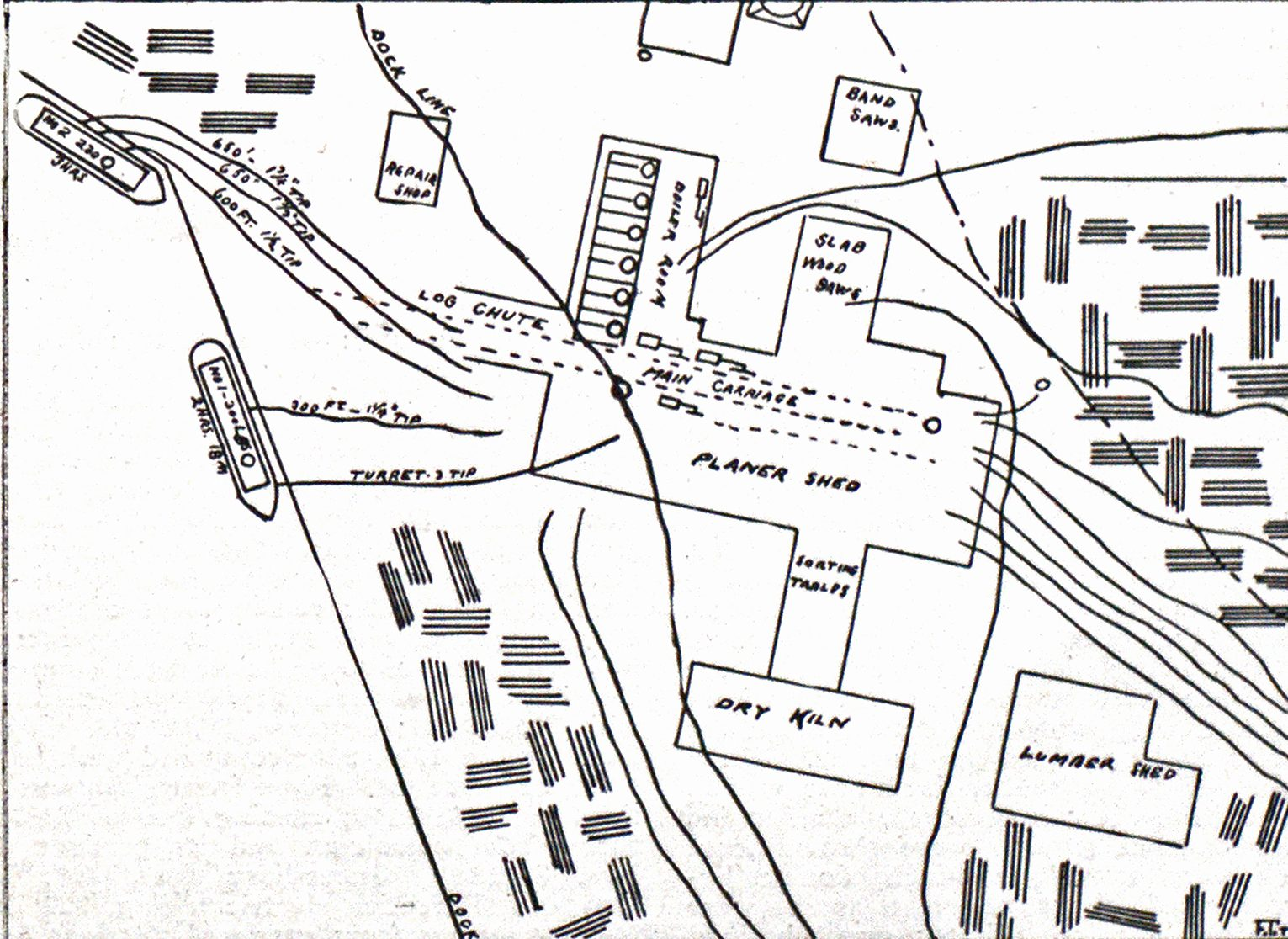 Diagram of Lumber Yard at Portland, Ore., Showing Location of Buildings.