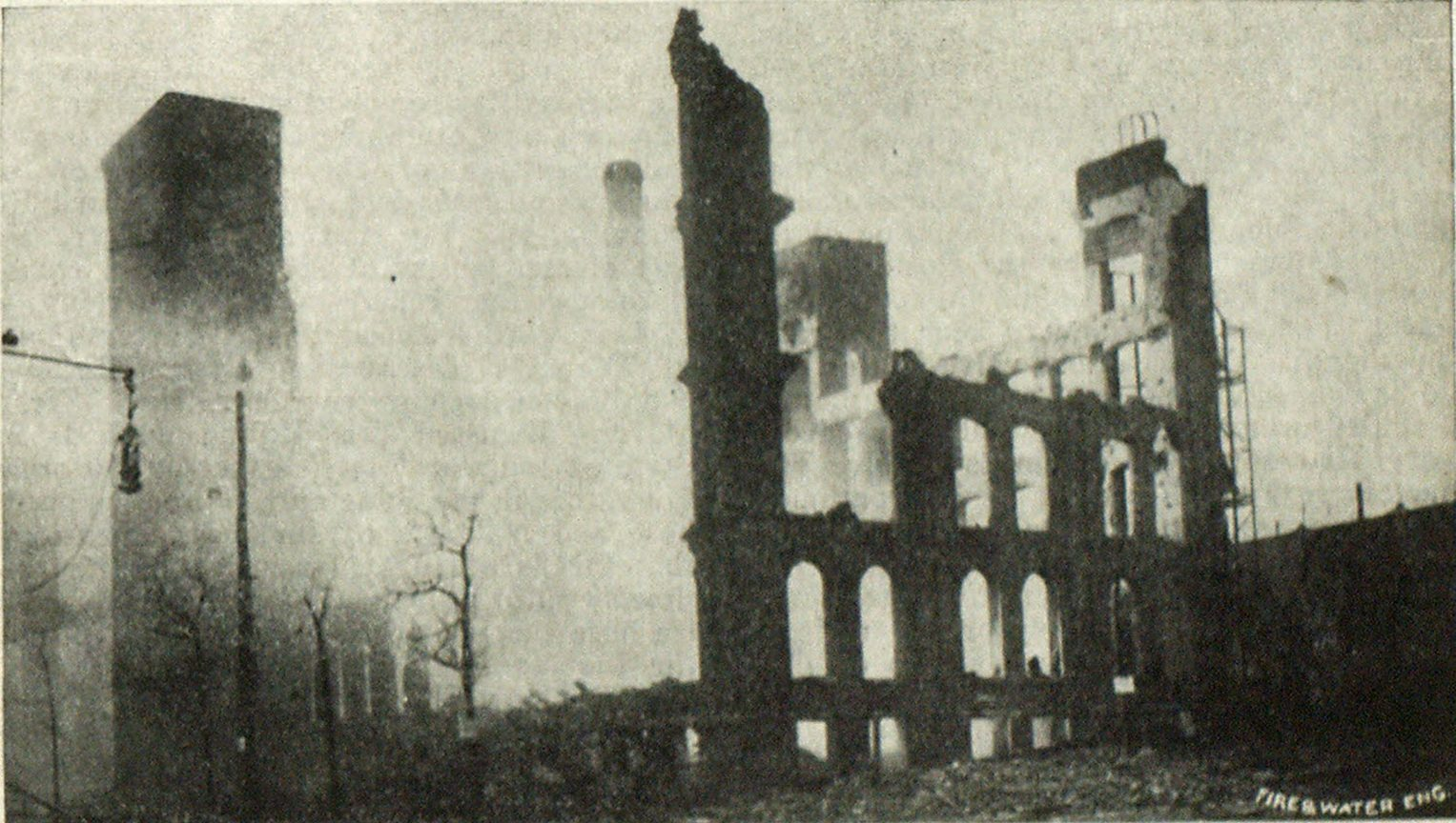 General View of Ruins of Cocoa Factory at Jersey City, N. J., Showing Parts of Walls Standing.