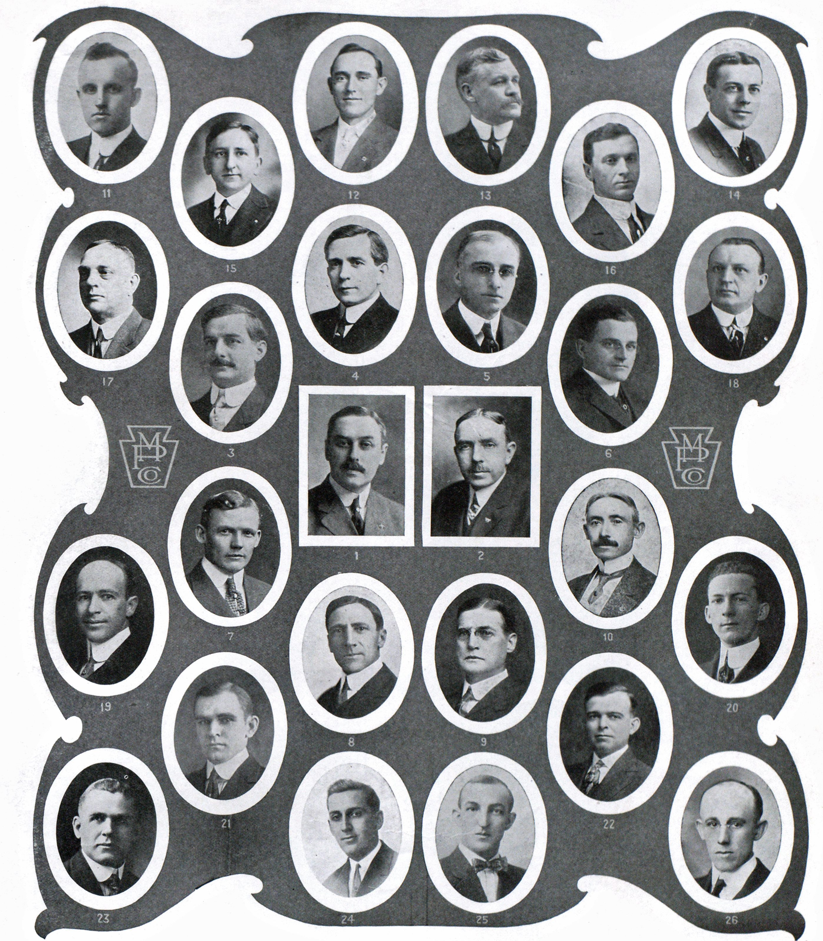1. A. G. Holmes, Vice-President and Manager. 2. T. C. Clifford, Sales Manager. 3. V. E. Arnold, District Manager, New York. 4. R. M. Stotler, District Manager Kansas City. 5. F. G. Swaffield, District Manager Columbia, S. C. 6. F. H. Bradford, District Manager Chicago. 7. H. J. Miller, District Manager Seattle. 8. G. U. Pritchard. 9. J. H. Davis. 10. J. H. Foley. 11. W. H. Talkes. 12. C. Barry. 13. J. W. Turner. 14. D. C. Kelly. 15. C. R. Zesky. 16. J. A. Null. 17. J. M. Wilson. 18. H. C. Zesky. 19. H. I. Beardsley. 20. Hugh Pinnix. 21. M. L. Northrop. 22. L. L. Ballard. 23. E. H. Tuttle. 24. M. J. Harper. 25. G. S. Wood. 26. G. W. Bailey.