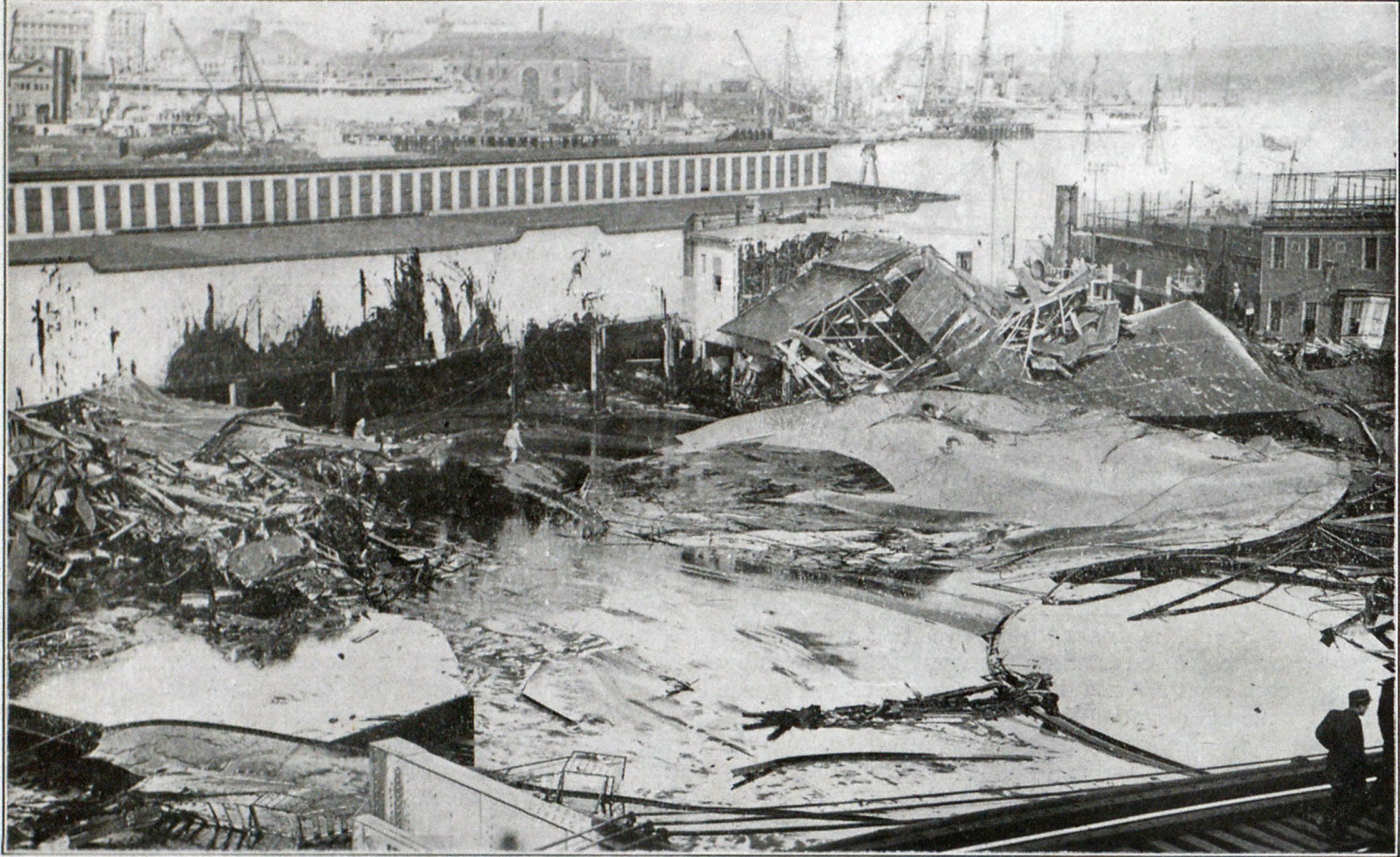 Scene at Explosion of Molasses Tank at Boston, Showing Destruction Caused, and Sticky Mass Covering Everything