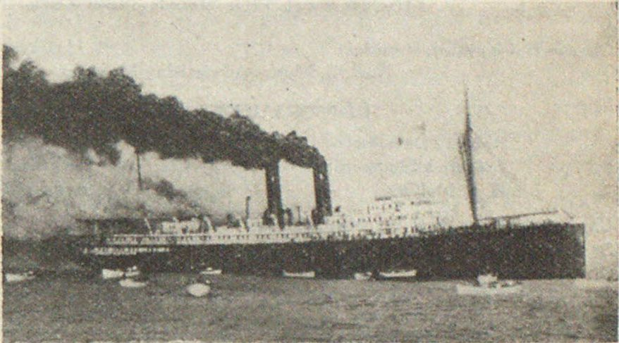 Fig. 145—Where Life Comes First. Passenger Ship Afire. Lifeboats Removing Passengers