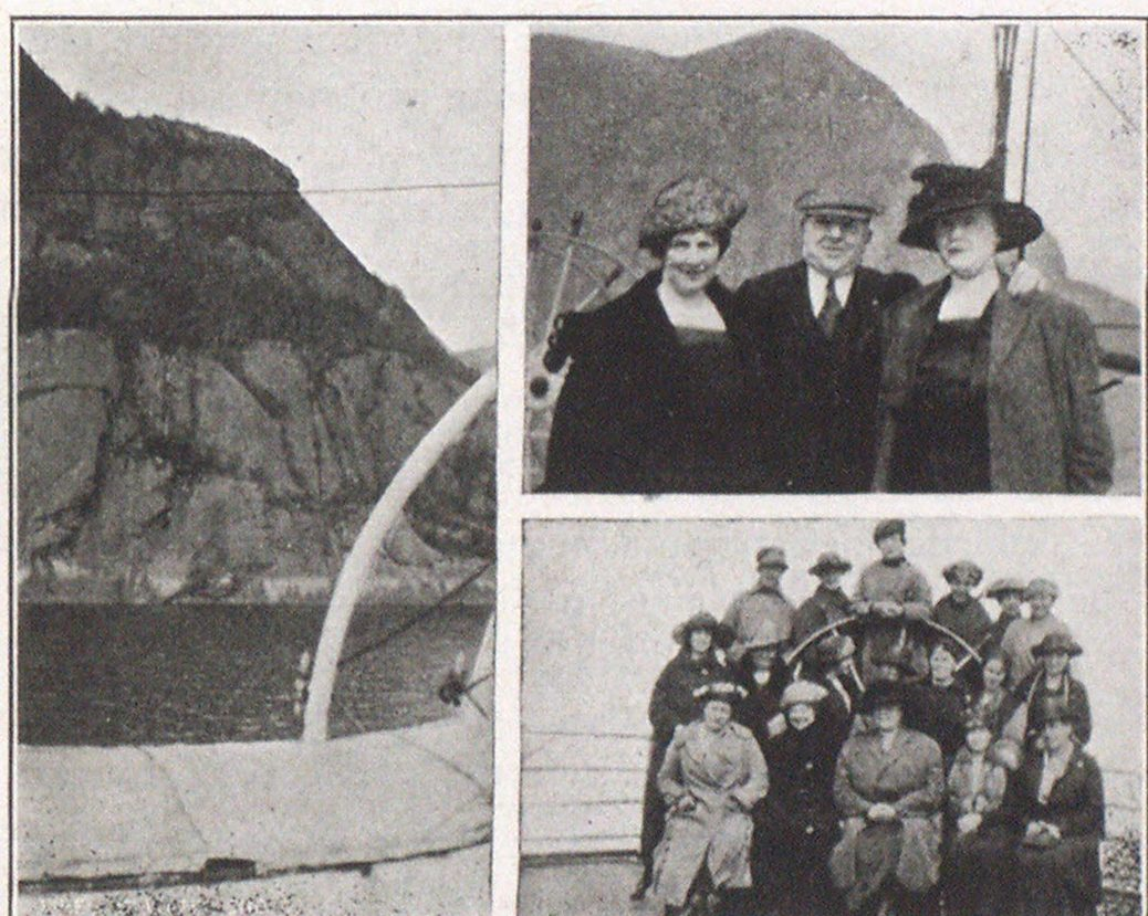 Picture on left was taken by Mr. John S. Warde, of Rensselaer Valve Company, just as Saguenay party was passing Cape Eternity. The great statue of the Virgin can be seen dimly at the summit. Upper right—Mrs. F. S. Holbrook and Mr. and Mrs. Warde, with frowning Cape Trinity as background. Below—The ladies of the Saguenay party at the wheel